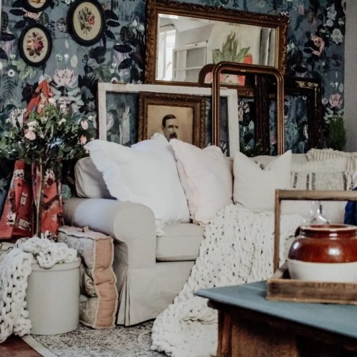 Farmhouse Living Room Makeover on a Budget Using Floral and Botanical Wallpaper