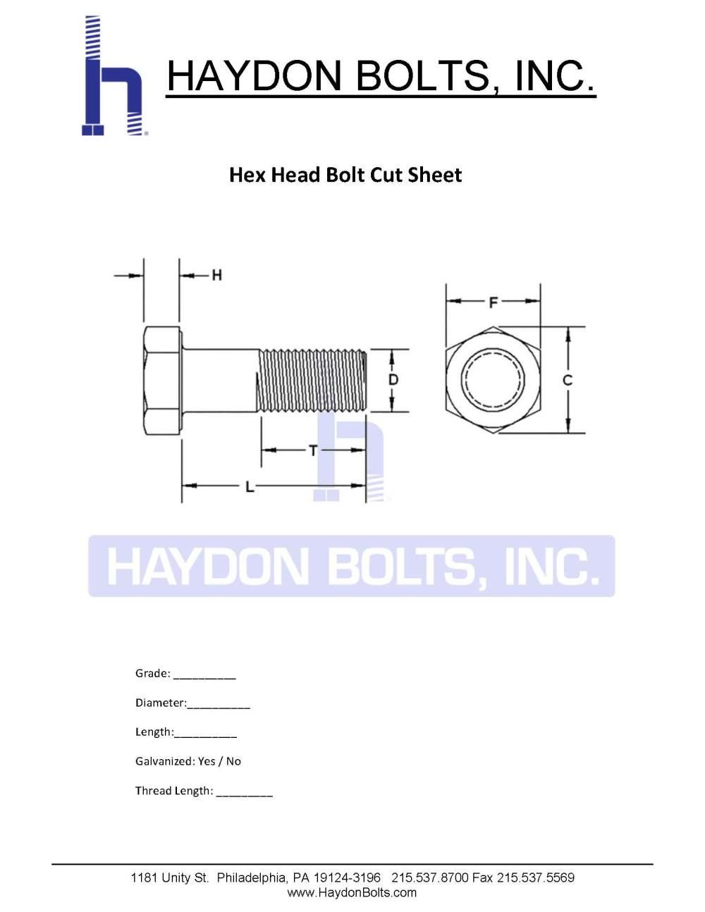 medium resolution of hex bolt cut sheet haydon bolts inc