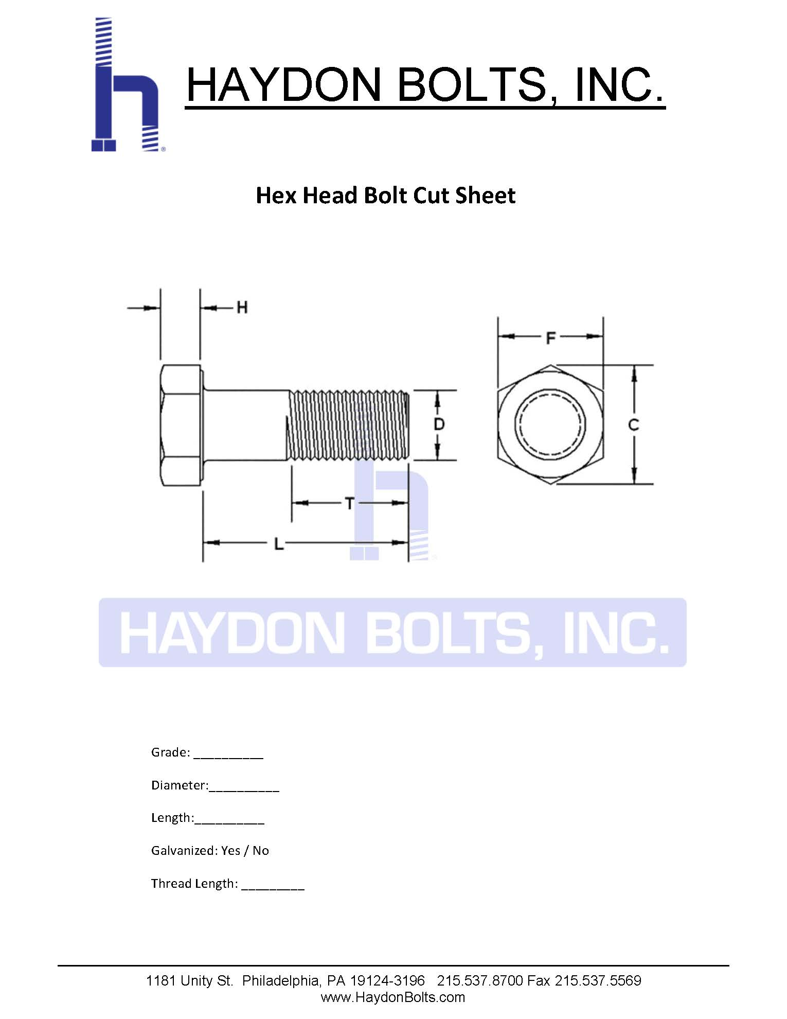 hight resolution of hex bolt cut sheet haydon bolts inc