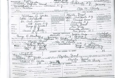1919: Marriage License of William B Yerks & Myrtie Gant