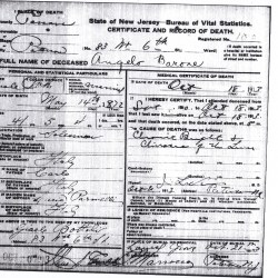 The Death Certificate of Angelo Anthony Baroni