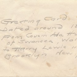 Post Card from Ada Hunter To Harry Lewis