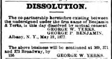 Dissolution of Benjamin & Yerks Company