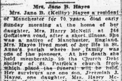 Mrs Jane B (Keilty) Death Notice