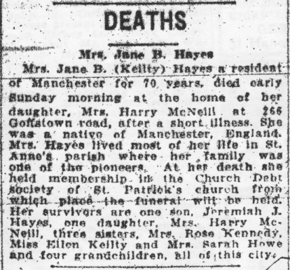 Jane B Hayes Death Notice