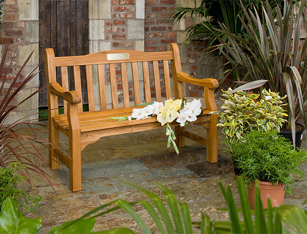 Solid teak and other wooden memorial benches  Hayes