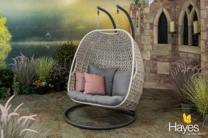 Supremo Genoa Double Cocoon Hanging Chair With Cushions And Free Cover Hayes Garden World