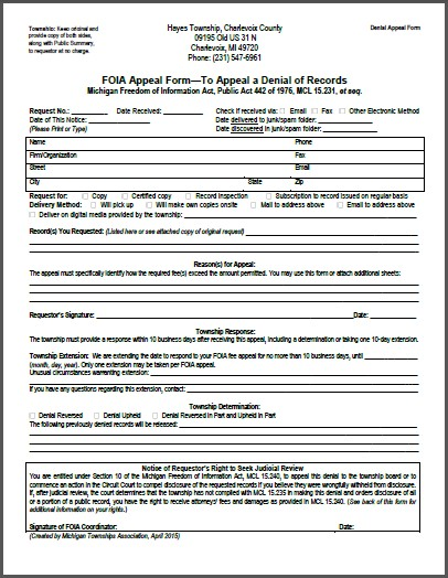 FOIA Denial Appeal Form
