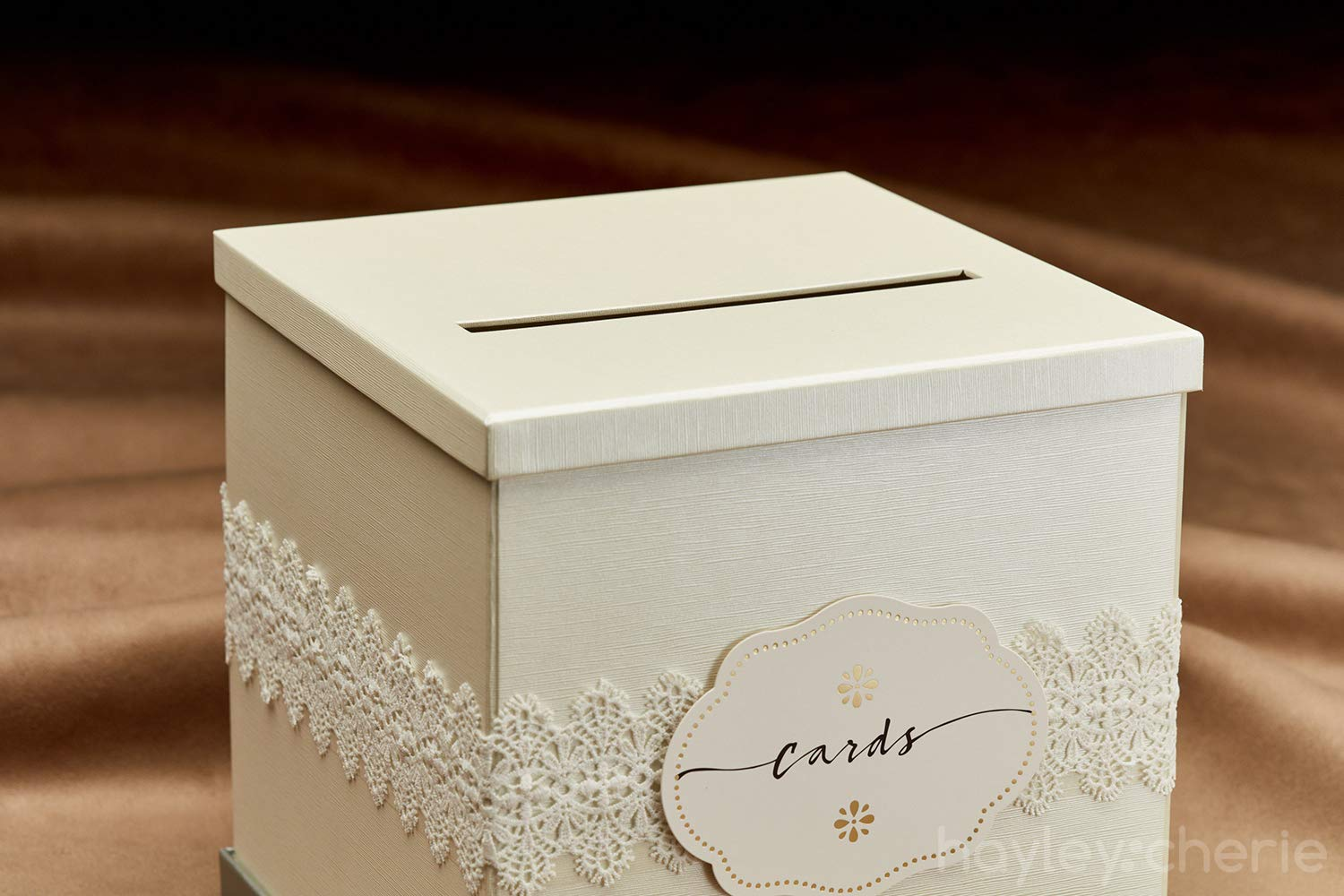 Hayley Cherie Ivory Text Ivory Gift Card Box with White Lace and Cards Label