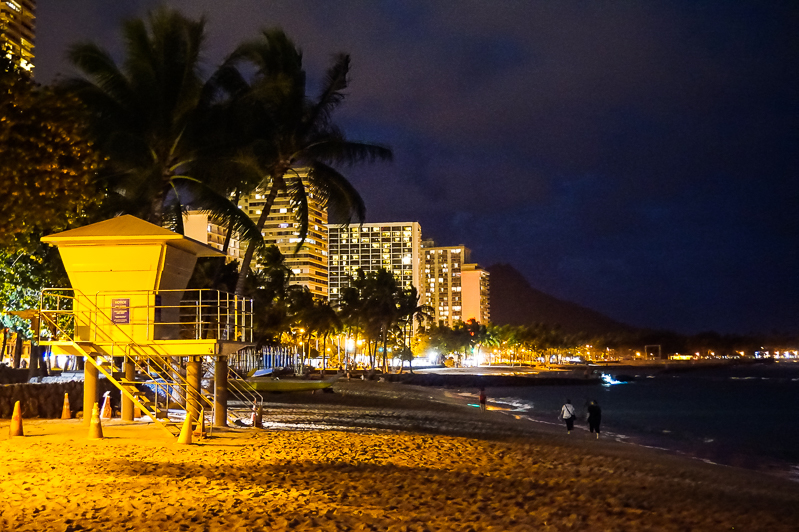 Night time on Waikiki Beach on Oahu, Hawaii