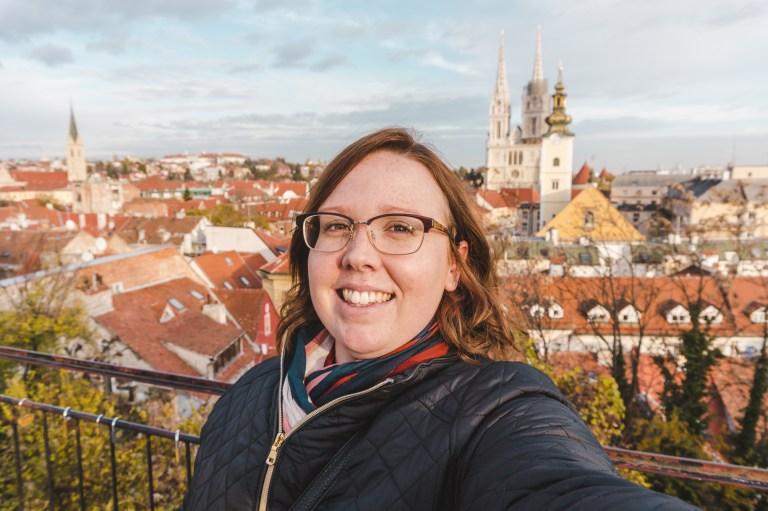 Selfie in the Old Town in Zagreb, Croatia