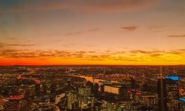 Sunset views from Eureka Skydeck/Eureka Tower in Melbourne, Australia