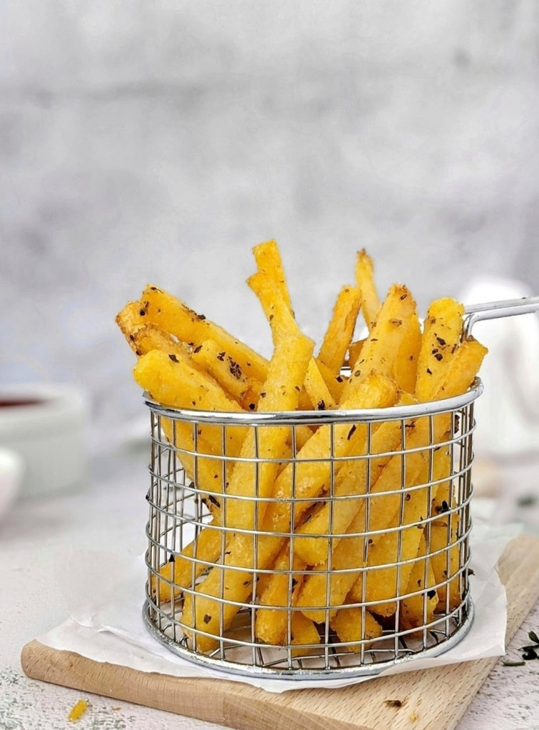 Garlic Herb Baked Polenta Fries Hayl S Kitchen