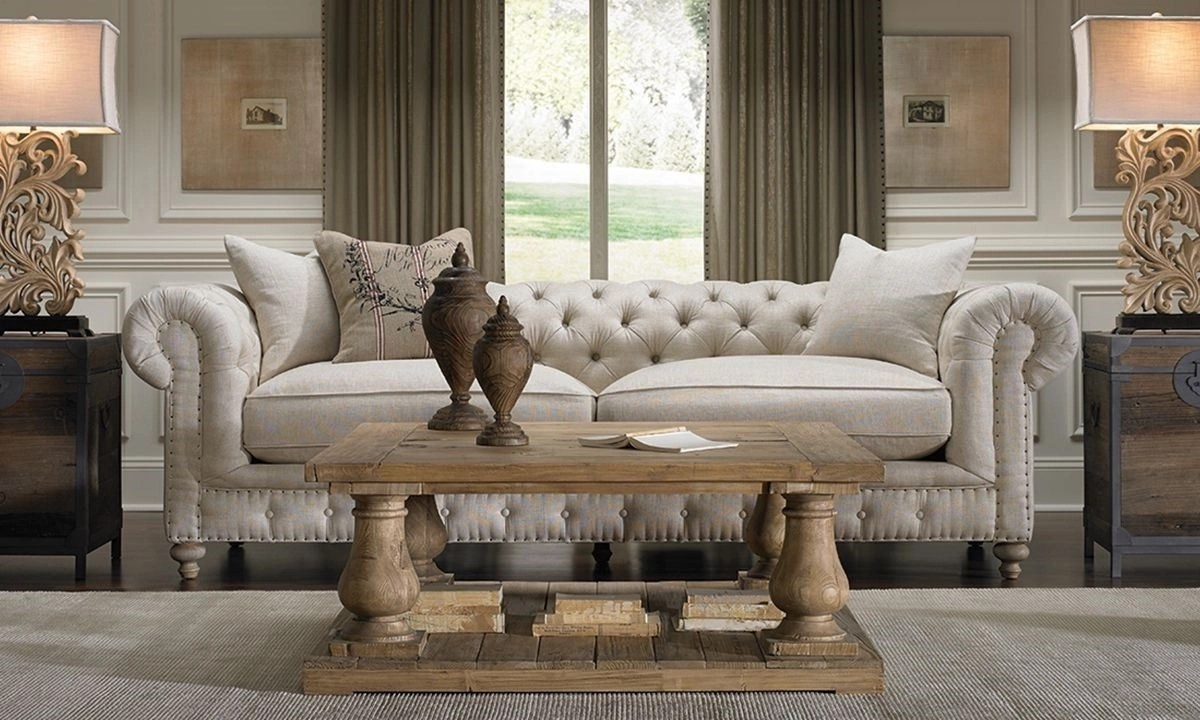 Francis Drake HandTailored White Chesterfield Sofa