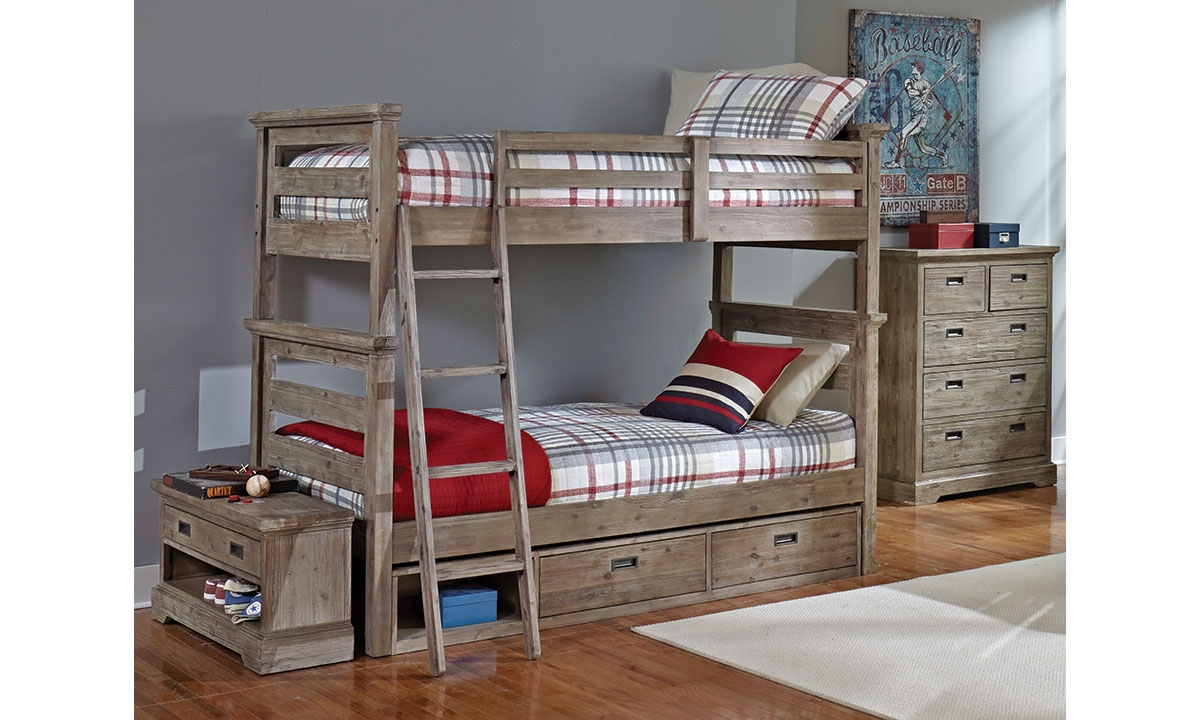 Haynes Furniture Oliver Solid Acacia TwinOverTwin Bunk Bed
