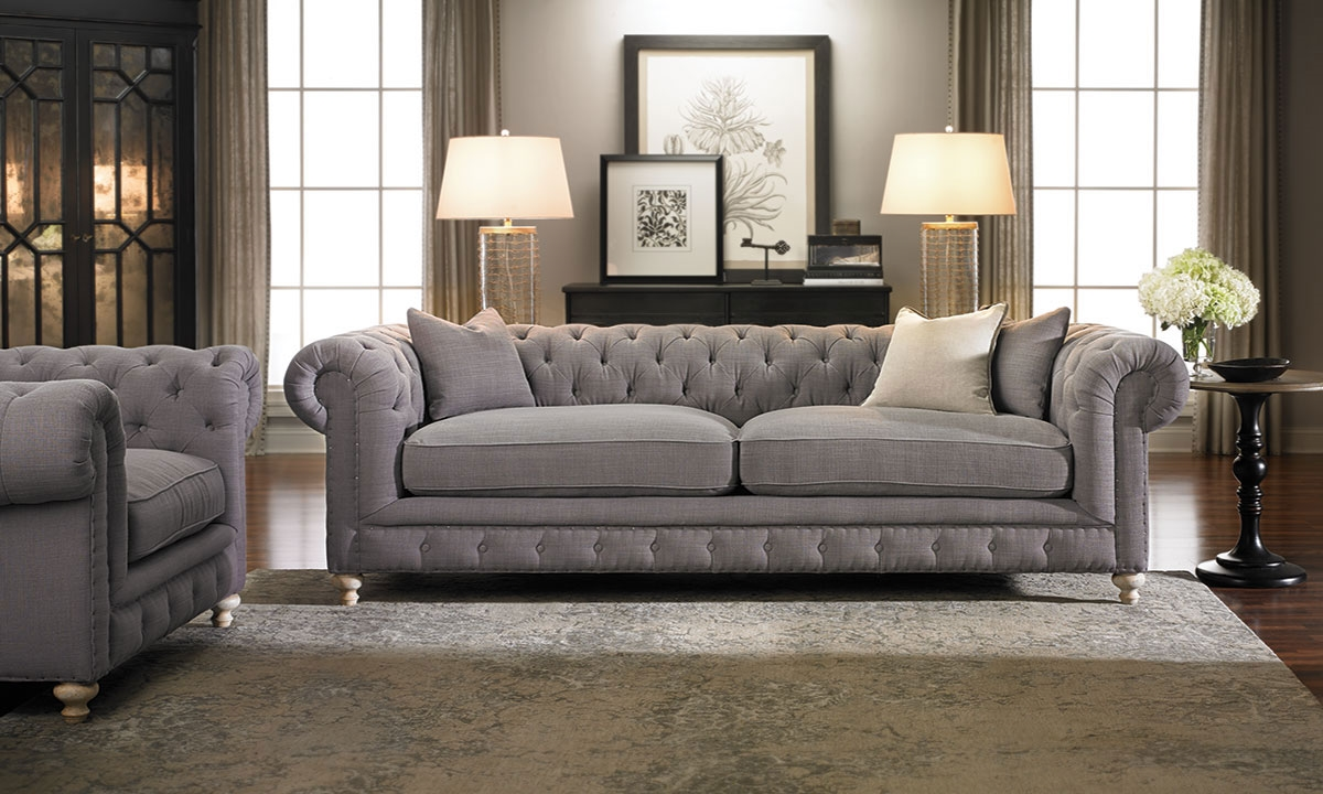 Francis Drake Chesterfield Grey Sofa Haynes Furniture
