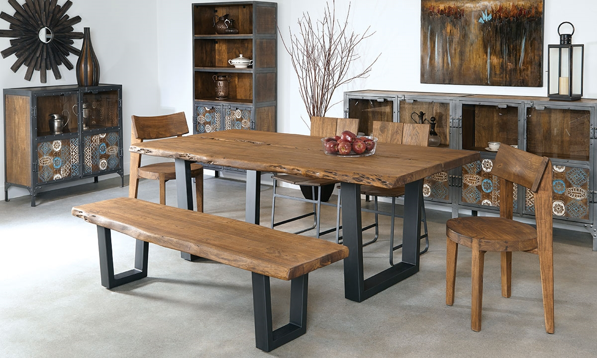 79Inch Live Edge Solid Acacia Dining Table  Haynes Furniture