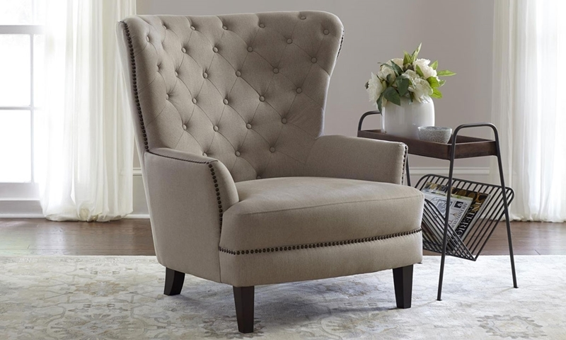 traditional wingback chair folding aluminum lawn chairs canada taupe conner wing back haynes furniture jofran easy living stain resistant diamond tufted with antique nailheads