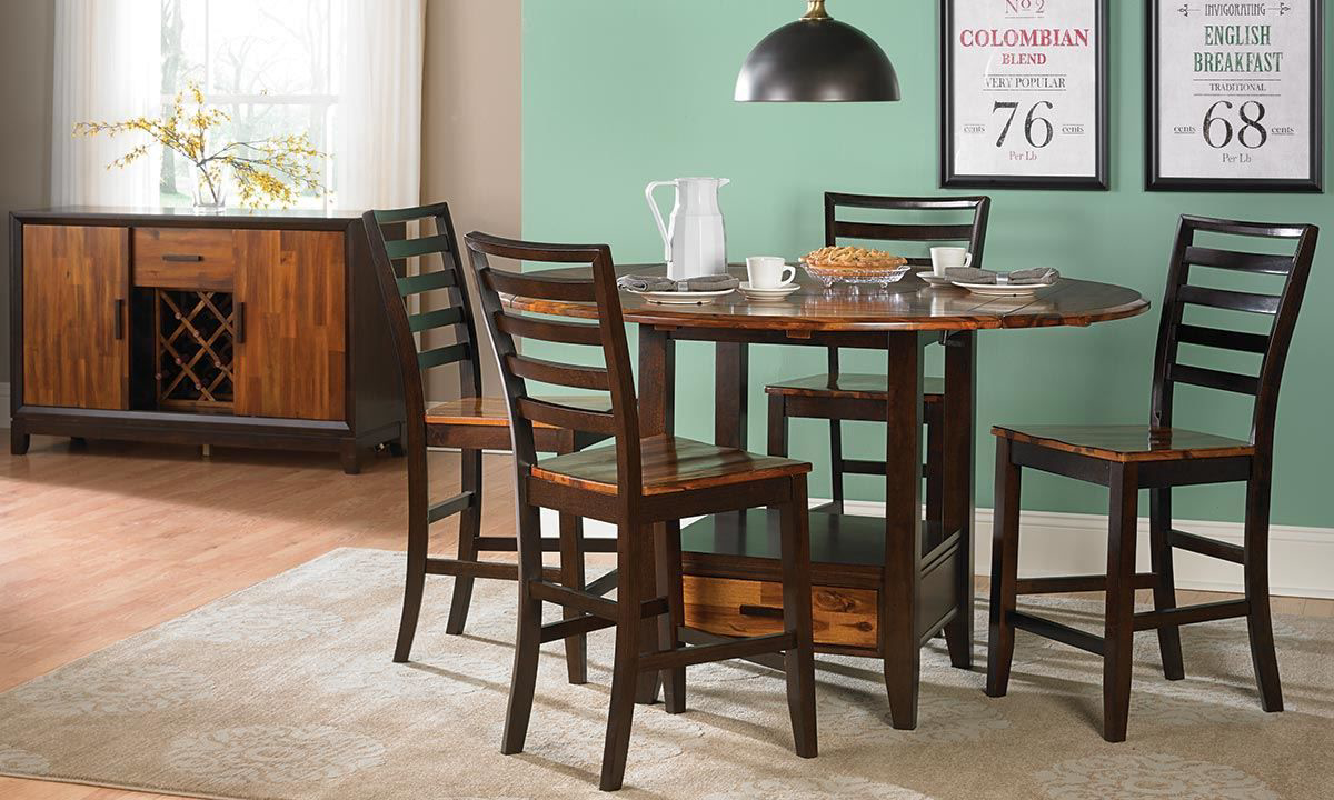 Haynes Furniture Ombre Solid Acacia 5 Piece Counter Height Dining Set