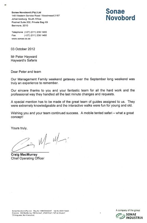 Sonae Novobord Commendation Letter