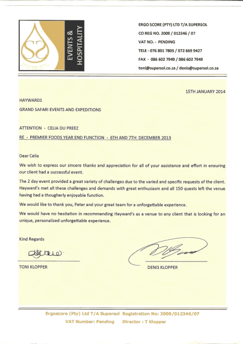 Supersol commendation Letter