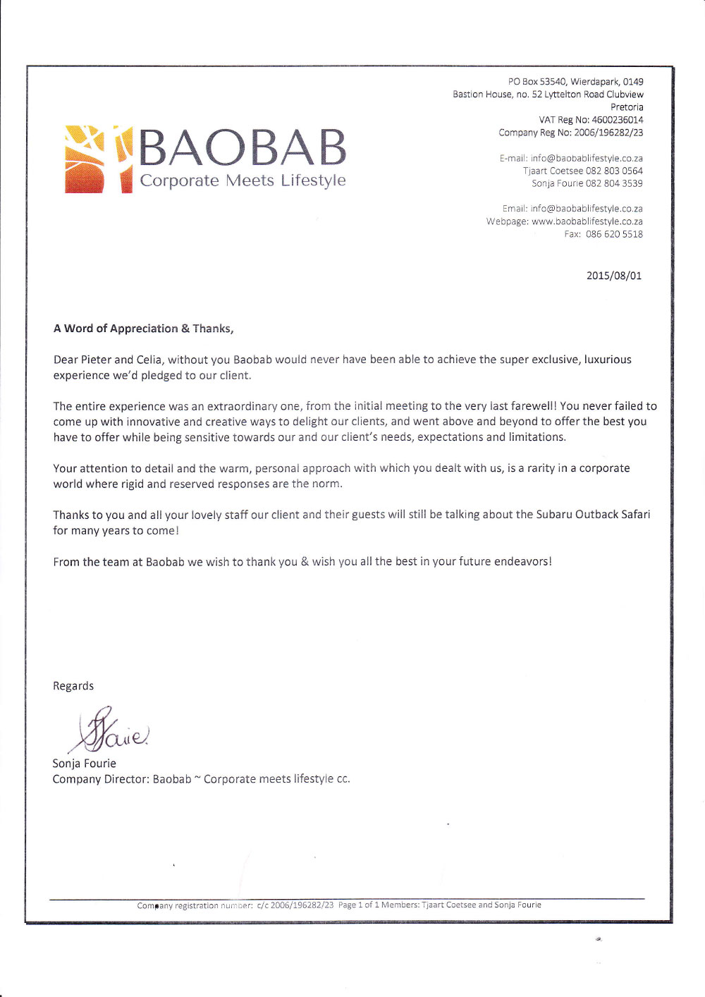 Commendation Letter  Subaru  Haywards Luxury African Safaris