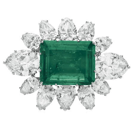 Elizabeth Taylor Emerald and Diamond Brooch