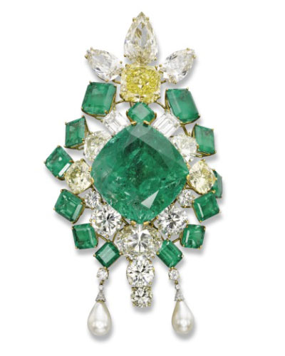 Emerald and Diamond Brooch