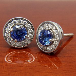 18ct White Gold Sapphire and Diamond Halo Earrings