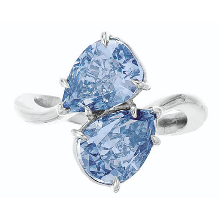 Twin Blue Diamond Ring