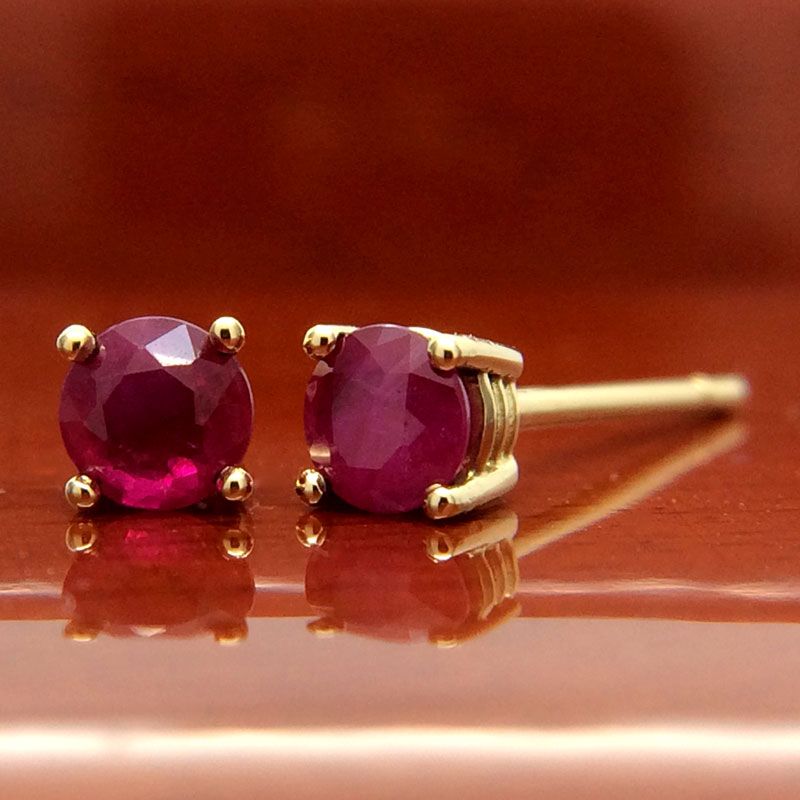 18ct Yellow Gold Ruby Stud Earrings