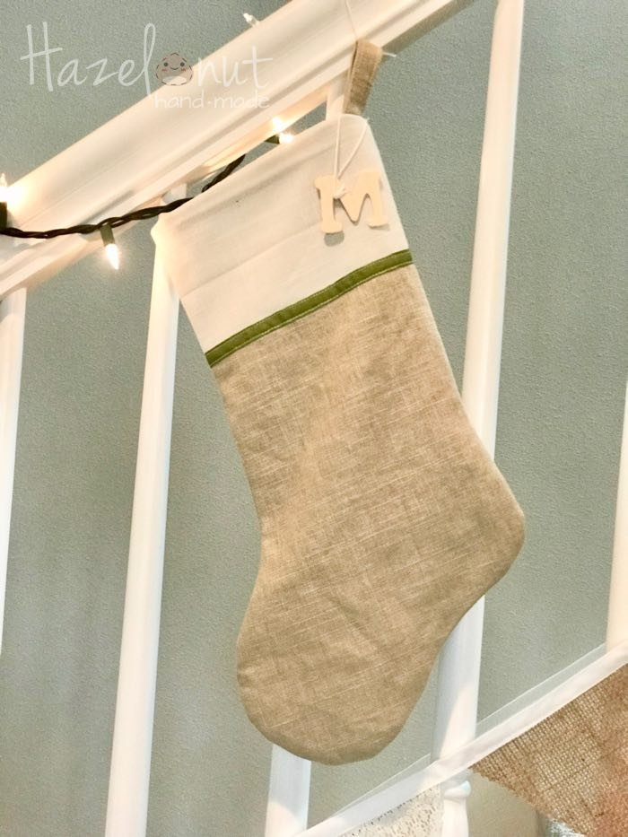 Modern Neutral Christmas Stocking by Hazelnut Handmade