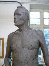 Gresley sculpture in clay, work-in-progress