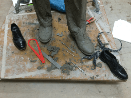 Gresley statue, adding the shoes