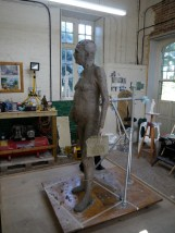 Gresley statue in clay - work-in-progress