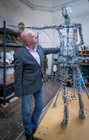 Andrew Simcock with Our Emmeline armature - photo by Nigel Kingston