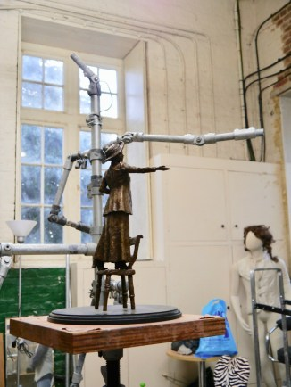 Emmeline armature with maquette - photo by Hazel Reeves