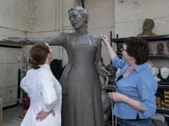 Hazel Reeves with Emmeline Pankhurst - photo by Nigel Kingston