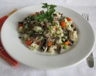 Gombás zöldséges rizs