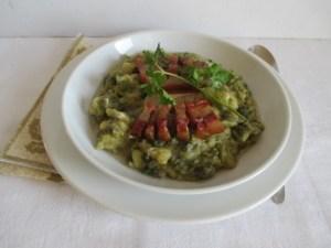 Kelkáposzta főzelék sült szalonnával 1