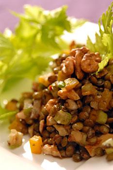 Ensalada de lentejas y verduras salteadas  Platos