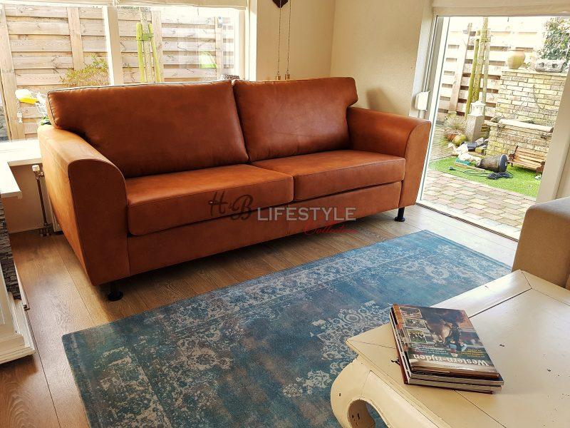 Cognac Kleurige Leren Hoekbank.Cognac Bank Hb Lifestyle Collection