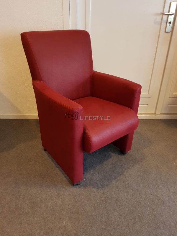 Fauteuil Rood Leer.Eetkamer Fauteuil Corso Rood Leer Hb Lifestyle Collection