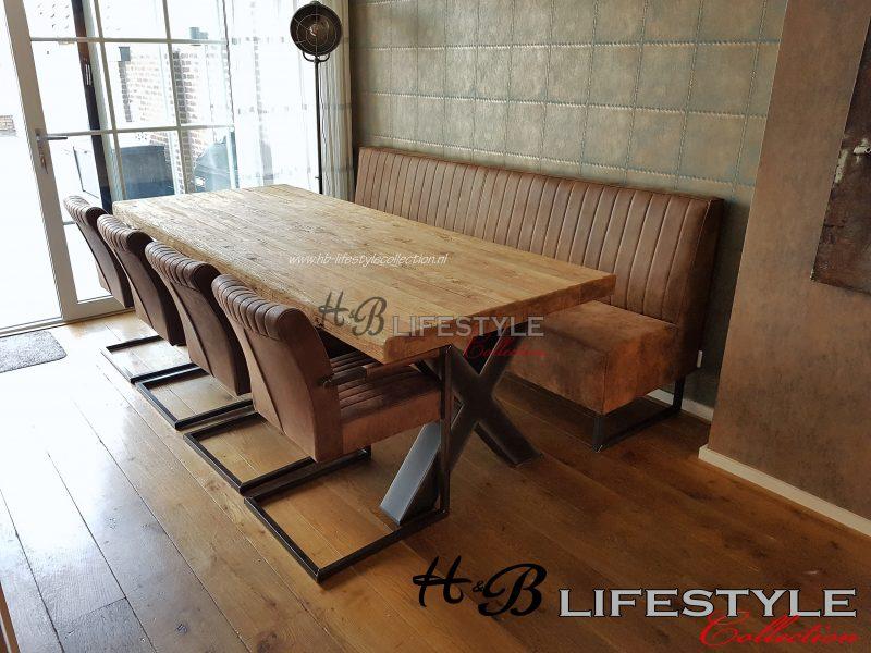 Bankje bij eettafel model monidaal metaal poot hb lifestyle collection