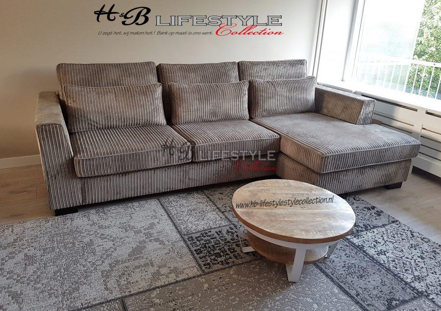 Eetkamerbank Rofra Home.Bank Met Lounge Gedeelte Grove Rib Stof Taupe Hb Lifestyle