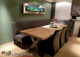 luxe eetkamerbank op maat afwijkende hoek