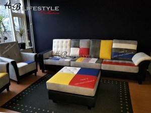 Patchwork kleuren bank Piet Mondriaan stijl