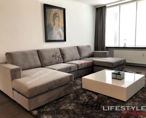 loungebank u vorm velvet stof