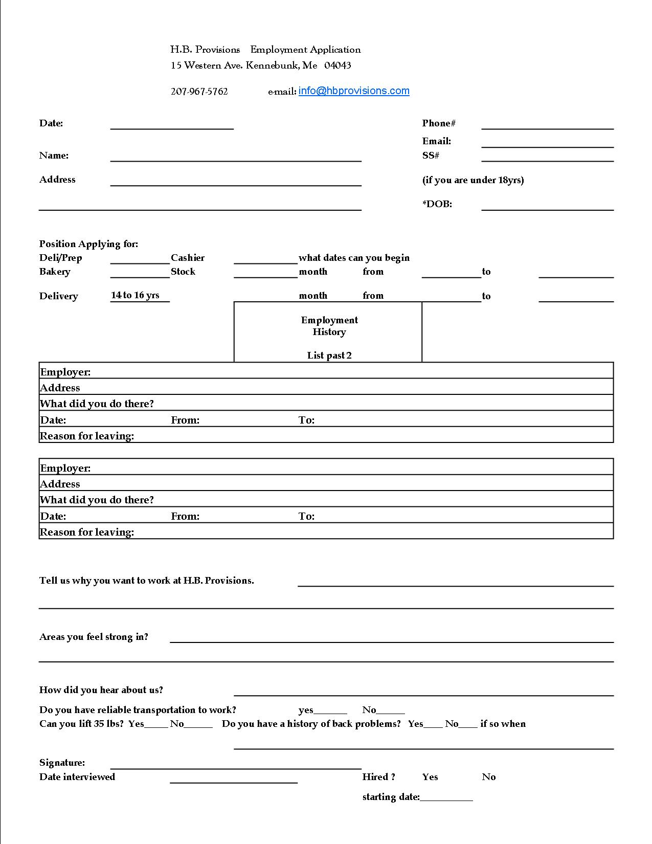 application for employment help