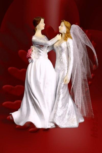 Tortenaufsatz Brautpaar Frauen Lesben Brautpaar